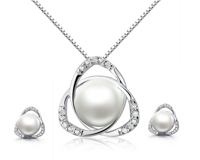18k White Gold 10 MM Round White Pearl Necklace and Earrings Set 18 Inch Plated
