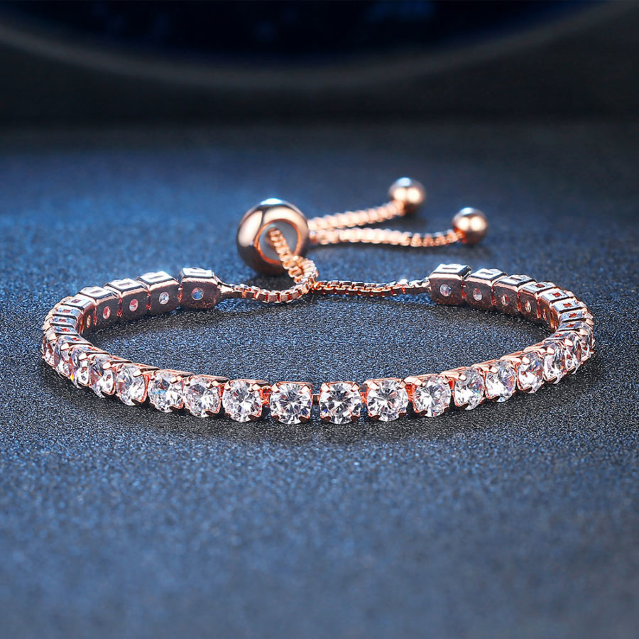 18k Rose Gold 8 Carat Created White Sapphire Round Adjustable Tennis Bracelet Plated