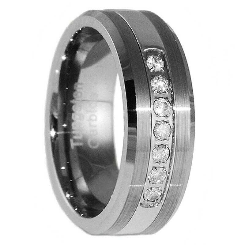 Tungsten Carbide Wedding Band White Sapphire  Bridal Jewelry Ring Size 5-15