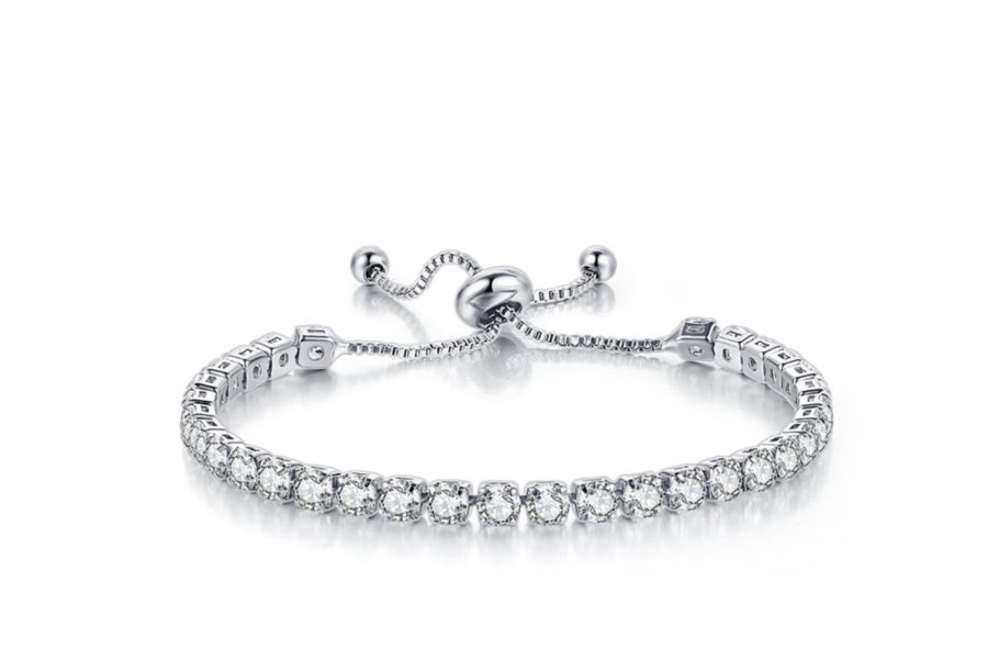 18k White Gold 8 Carat Created White Sapphire Round Adjustable Tennis Bracelet Plated